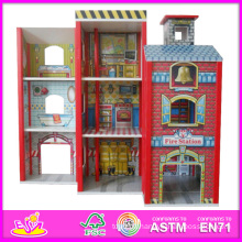 2014 mode nouveau jouet de modèle de maison de poupée en bois, gros jouet en bois de maison de poupée en bois, 3d coloré bébé ensemble de maison de poupée en bois usine w06a049
