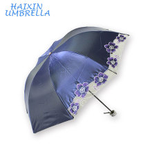 Promotional Embroidered Wholesale Manual Open UV Protection folding sun cutomized umbrella