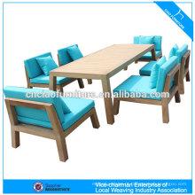 Conjunto de jantar ao ar livre móveis de madeira de teca com almofada