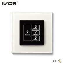 Panneau tactile avec interrupteur d'éclairage à 3 bandes avec cadre en verre à contrôle principal (HR1000-GL-L3M)