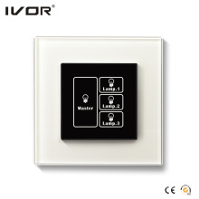 3 Gangs Lighting Switch Touch Panel with Master Control Glass Frame (HR1000-GL-L3M)