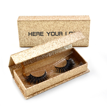 Handgjord Golden Glitter Eyelash Box Wholesale