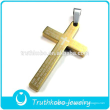 2012 Wholesale Cheap 22k Mens Gold Vacuum Plating 316 Stainless Steel High Quality Western Cross Pendant