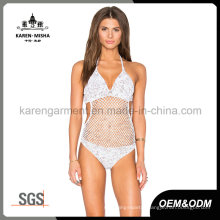 Ladies Heather Color Crochet One Piece Swimwear
