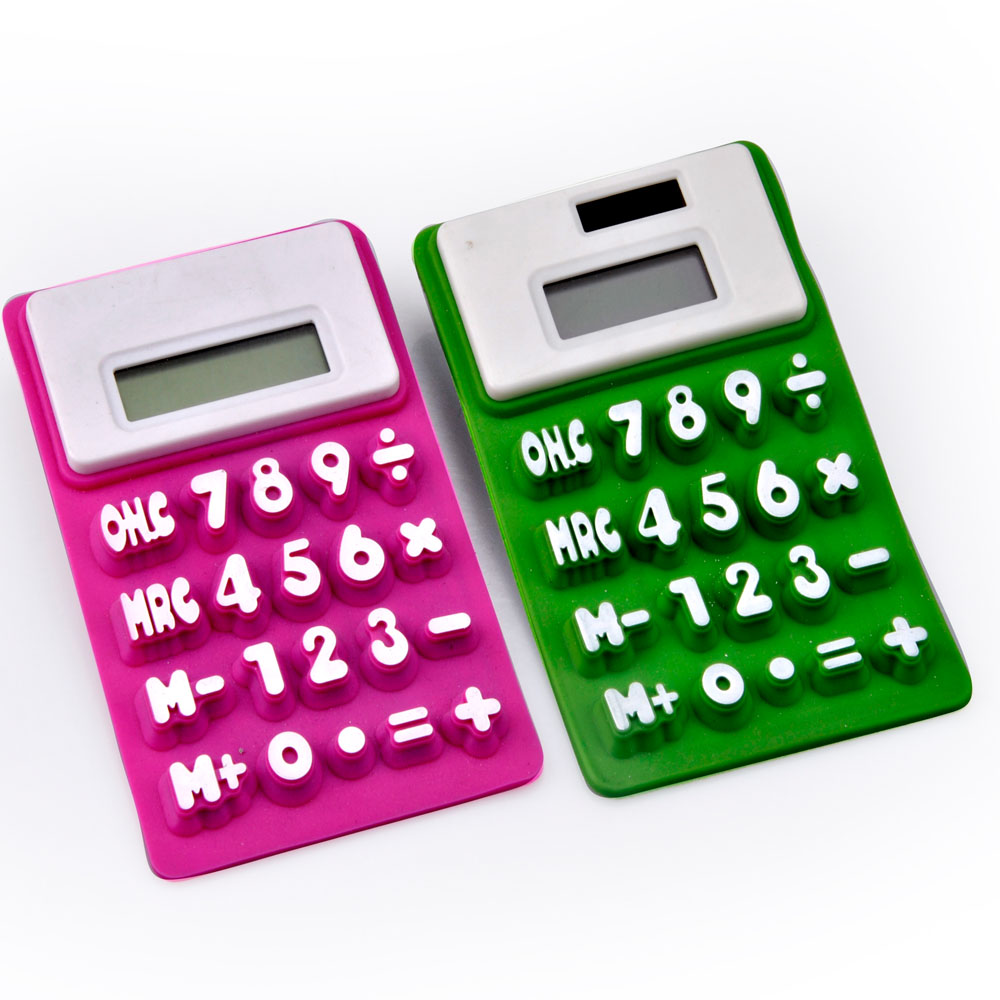 8 digits electronic dual power rubber folding calculator