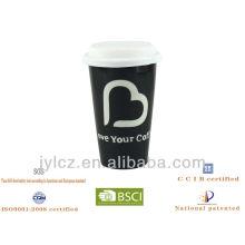sand blast ceramic double wall mug with silicon lid