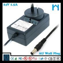 36W 24v 1.5a alimentation avec AUS Plug C-tick SAA approuvé pour Newzeland et l'Australie