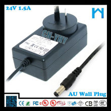 36W 24v 1.5a power supply with AUS Plug C-tick SAA approved for Newzeland and Australia