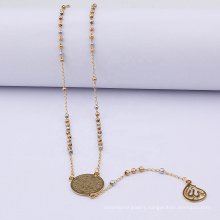 Classic Free Stainless Steel Multi Color Long Gold Rosary Colorful Beads Jesus Necklace