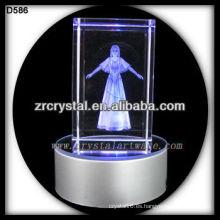 Cubo de cristal grabado 3D láser con base LED