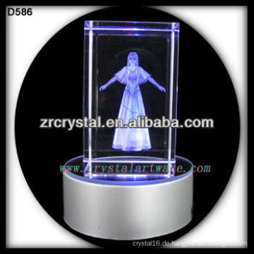 3D Lasergravur Kristallwürfel mit LED-Basis