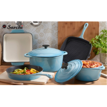 7pcs All Enamel Cast Iron colorful cookware set