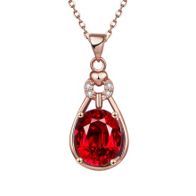 Euramerican Pop Elegant Rose Collier en or Drop Shape Zircon Necklace Jewelry