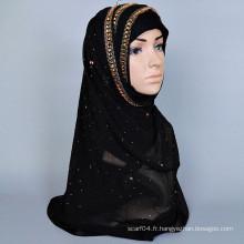 Echarpe hot hijab musulman de mode avec du diamant tchèque