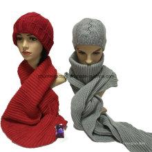 Ensembles de chapeaux d'écharpe à gants en tricot acrylique pour l'hiver