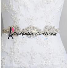Высокое качество ручной работы из бисера горный хрусталь кристалл свадебное платье створки пояса кружева