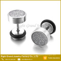 316L Surgical Steel Ear Studs Silver Black Plated Brushed Fake Plug Earrings