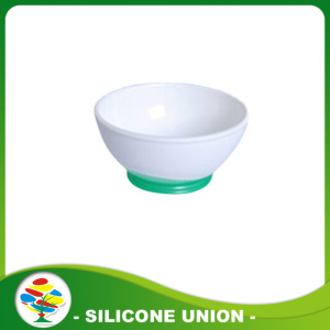 Food grade deep white color silicone baby bowl