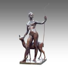 Grande Figure Statue Gilr Cerfs Décoration Bronze Sculpture Tpls-029