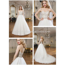 New Style Ball Gown Wedding Dress 2014 Sweetheart Beaded Bodice Tulle Skirt Long Tail Church Bridal Gown NB0634