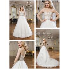 Новый стиль бальное платье свадебное платье 2014 милая бисером лиф тюль юбка длинный хвост Церковь свадебные платья NB0634