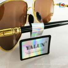 Impression couleur autocollant d'étiquette de verres de pelliculage brillant de film de laser