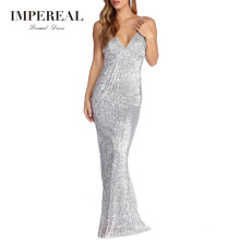 Spaghetti Strap Long Sequins Party Gown Designer Party Wear Dress