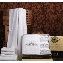 Canasin 5 Star Hotel Towels Luxury 100% cotton White Embroidery