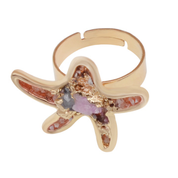18k Gold Color Natural Seastar Drusy Crystal Rings