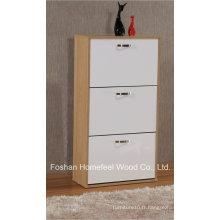 Meubles de maison en bois brillant 3 tiroirs rotatifs Cabinet de chaussure (XE31)