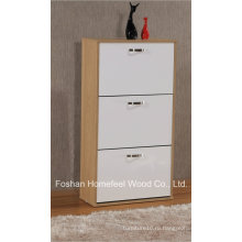 Домашняя мебель Глянцевая деревянная 3 вращающихся ящика Шкаф для обуви (XE31)