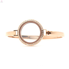 Cheap 30mm 7 '' - 8 '' Rose Gold medallón flotante reloj de acero inoxidable, pulsera de oro rosa