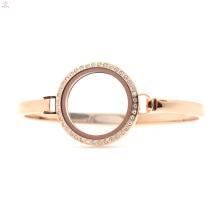 Barato 30mm 7 '' - 8 '' Rose Gold aço inoxidável relógio medalhão flutuante, rosa pulseira de ouro
