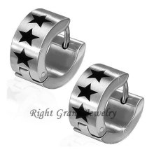 Black Star Surgical Steel Made Earrings Jewelry