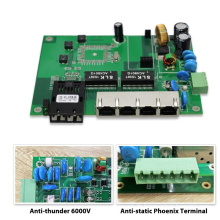 Anti Donner 6000V im Freien POE Schalter 48V-55V PCB leeren Boards 4-Port POE 100M und 1-Port Uplink Dual-Faser SC / ST / FC