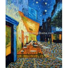 Кафе Терраса на ночь Известный Ван Гог Repro Открытый стол 20X24 живопись маслом