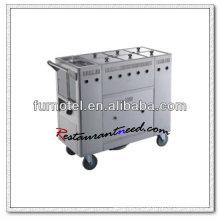S102 Carretilla de cocina de acero inoxidable con 6 tanques