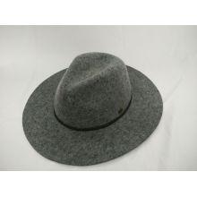 Chapeau en feutre en laine à la mode en forme de fourreau avec chapeau en caoutchouc fait à la main en cuir (F-070004)