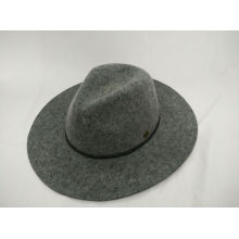 Fashion Wool Felt Fedora Hat with Fine Handmade Leather String Hatband (F-070004)