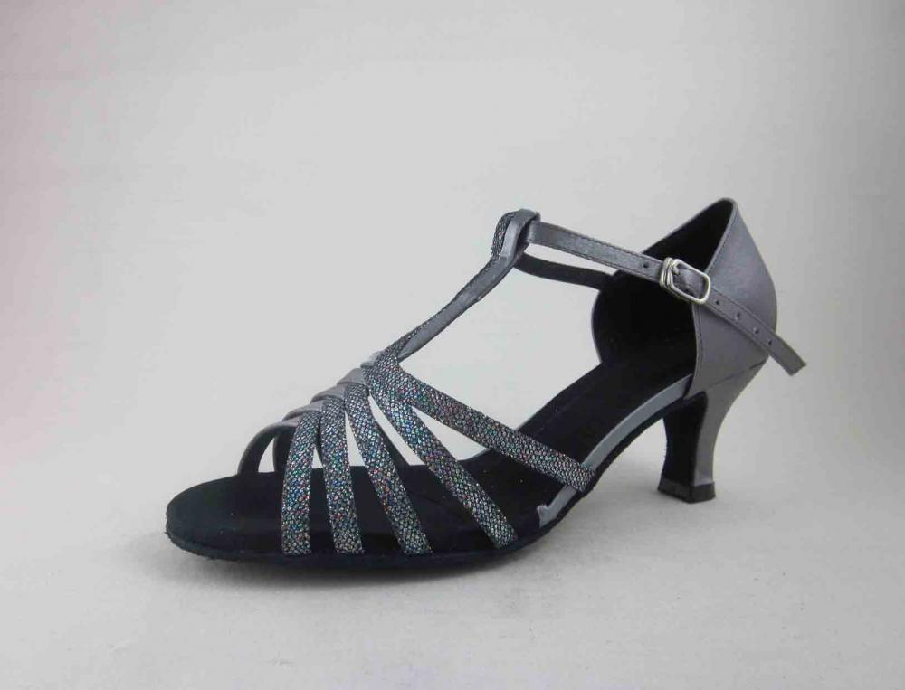 Ladies Grey Satin Dance Shoes