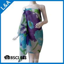 Polyester Baumwoll Voile Blau bedruckter Schal für Frauen
