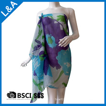 Écharpe imprimée en coton coton bleu voile pour femme