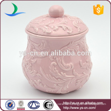 Wholesale Embossed Pink Ceramic Pot With Cover