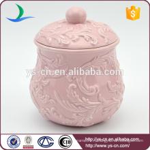 Оптовая тиснением розовый керамический горшок с крышкой