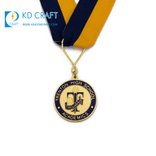 Golden supplier china custom raised metal 3d gold plated academic medal for souvenir