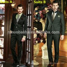 Высокого класса бизнес Мужские костюмы впечатлили 2014 Глен проверить длинным рукавом свадебное платье костюмы для мужчин NB0562