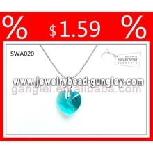 Forma do cristal Jóias Colares jóia coração