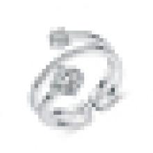 Anillo creativo de la plata esterlina 925 de la manera de las mujeres incrustado anillo abierto de la CZ
