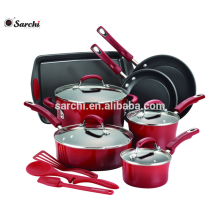 14-Piece Hard Enamel Nonstick Cookware Set Red