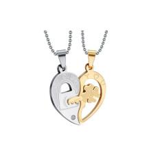 Top vente coeur pendentif de deux moitiés, bijoux amant